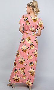 Image of coral pink floral print v-neck casual maxi dress. Style: LAS-ILL-21-D1460L Back Image