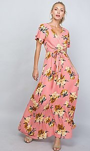 Image of coral pink floral print v-neck casual maxi dress. Style: LAS-ILL-21-D1460L Detail Image 1