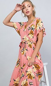Image of coral pink floral print v-neck casual maxi dress. Style: LAS-ILL-21-D1460L Detail Image 3