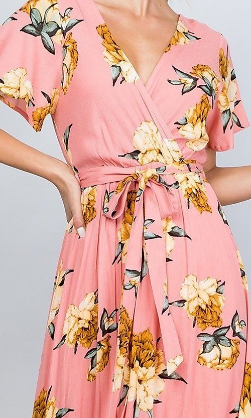 Image of coral pink floral print v-neck casual maxi dress. Style: LAS-ILL-21-D1460L Detail Image 2