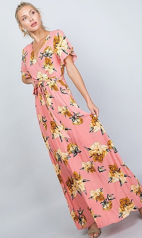 Image of coral pink floral print v-neck casual maxi dress. Style: LAS-ILL-21-D1460L Detail Image 5
