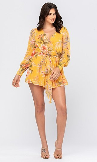 Tropical Yellow Floral Print Casual Romper