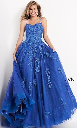 Embroidered JVN by Jovani Cobalt Blue Prom Ball Gown