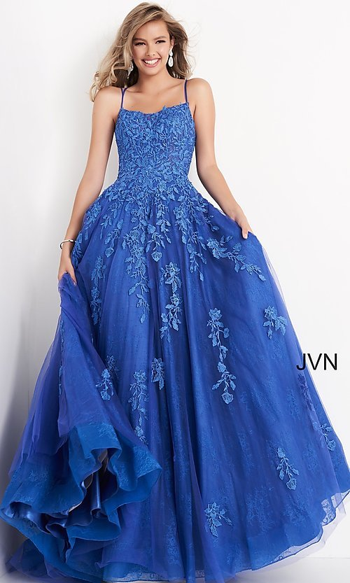Image of embroidered JVN by Jovani cobalt blue prom ball gown. Style: JO-JVN-21-JVN06644 Front Image
