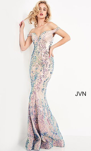 Off-Shoulder JVN by Jovani Long Sequin Prom Dress