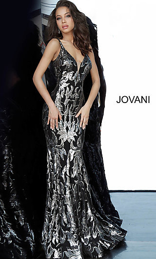 Fitted Sequin Long Jovani Designer Prom Dress 3263