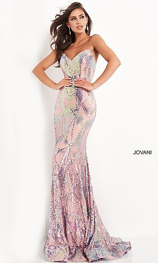 Light Pink Sequin Long Formal Prom Dress by Jovani
