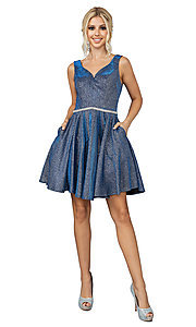 Image of metallic glitter short prom dress with pockets. Style: DQ-21-3142 Front Image