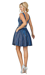 Image of metallic glitter short prom dress with pockets. Style: DQ-21-3142 Back Image