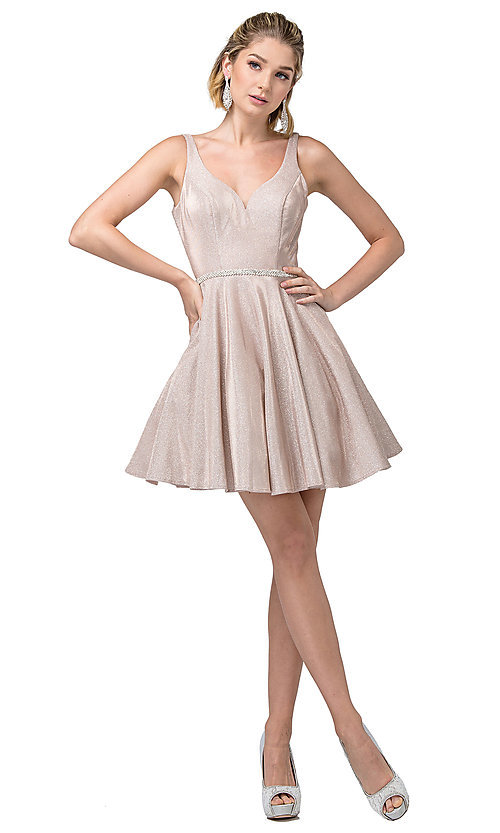 Image of metallic glitter short prom dress with pockets. Style: DQ-21-3142 Detail Image 4