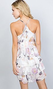 Image of floral print short tiered semi-formal party dress. Style: LAS-ILL-21-D1693C Back Image