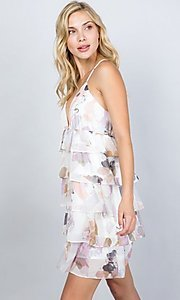 Image of floral print short tiered semi-formal party dress. Style: LAS-ILL-21-D1693C Detail Image 1