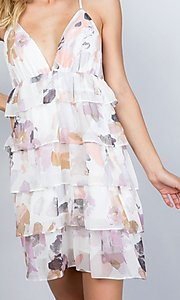 Image of floral print short tiered semi-formal party dress. Style: LAS-ILL-21-D1693C Detail Image 2