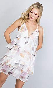 Image of floral print short tiered semi-formal party dress. Style: LAS-ILL-21-D1693C Detail Image 4