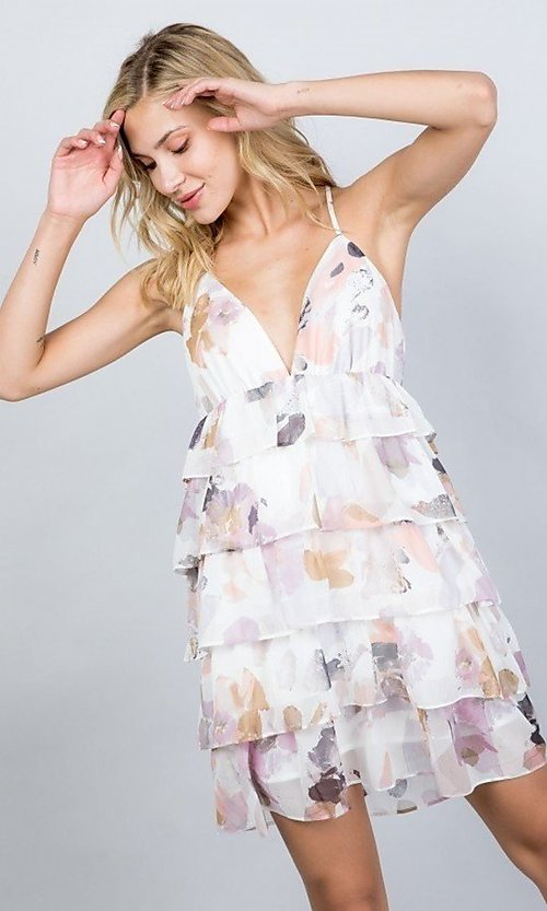 Image of floral print short tiered semi-formal party dress. Style: LAS-ILL-21-D1693C Front Image