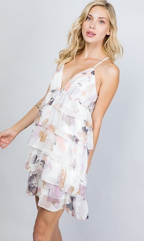 Image of floral print short tiered semi-formal party dress. Style: LAS-ILL-21-D1693C Detail Image 3