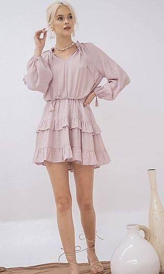 Long Sleeve Short A-Line Casual Ruffle Dress