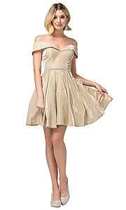 Image of off-the-shoulder short metallic-glitter prom dress. Style: DQ-21-3147 Detail Image 2