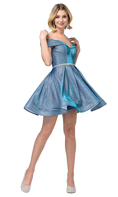 Image of off-the-shoulder short metallic-glitter prom dress. Style: DQ-21-3147 Detail Image 4
