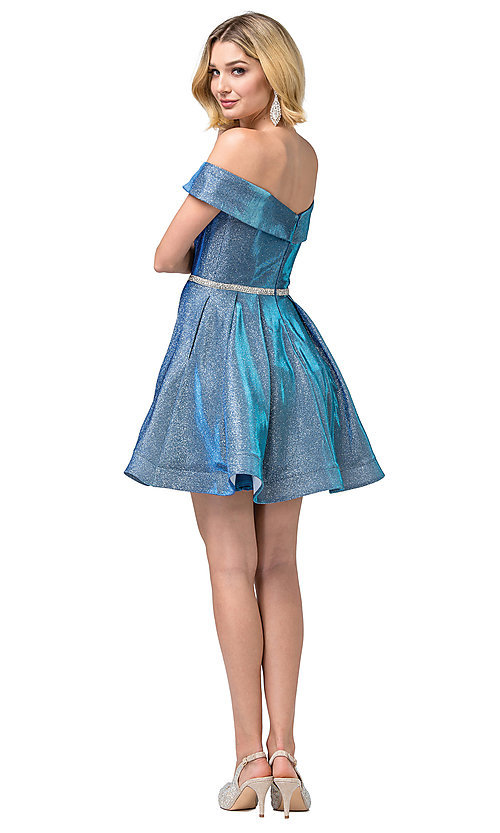 Image of off-the-shoulder short metallic-glitter prom dress. Style: DQ-21-3147 Detail Image 5