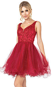 Image of glitter rolled-hem short prom dress. Style: DQ-21-3243 Front Image