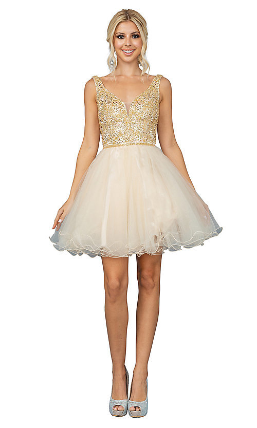 Image of glitter rolled-hem short prom dress. Style: DQ-21-3243 Detail Image 4