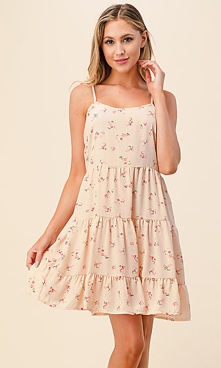 Short Pink Floral Print A-Line Casual Lace-Up Dress