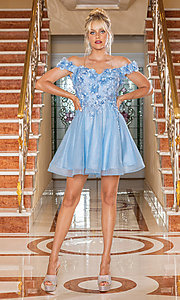 Image of babydoll short metallic homecoming dress. Style: DQ-21-3254 Front Image