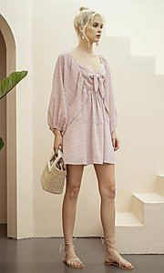 Image of short textured draped-sleeve casual party dress. Style: LAS-ILL-21-IM6051 Detail Image 6