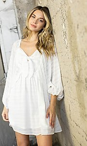 Image of short textured draped-sleeve casual party dress. Style: LAS-ILL-21-IM6051 Detail Image 1