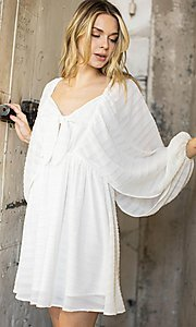 Image of short textured draped-sleeve casual party dress. Style: LAS-ILL-21-IM6051 Detail Image 2