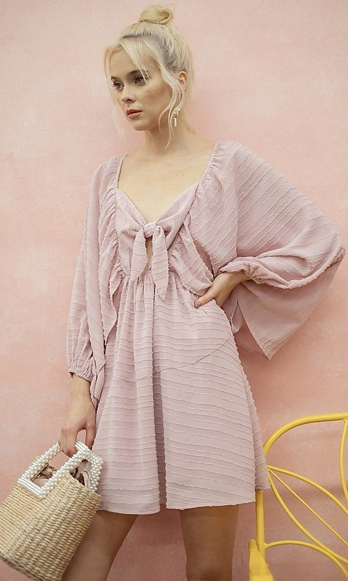 Image of short textured draped-sleeve casual party dress. Style: LAS-ILL-21-IM6051 Detail Image 3