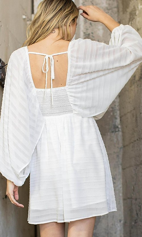 Image of short textured draped-sleeve casual party dress. Style: LAS-ILL-21-IM6051 Back Image