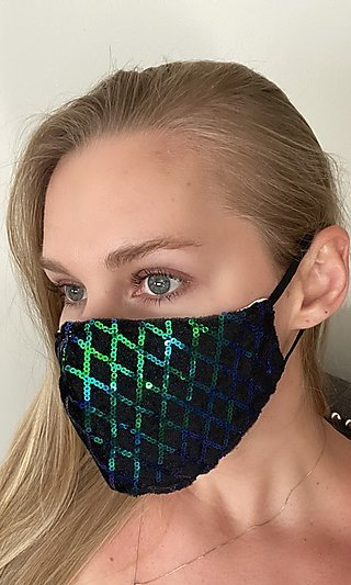 Black Face Mask With Green Sequins