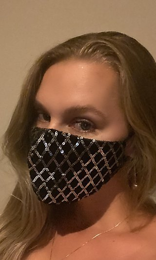 Black Prom Face Mask With Silver Sequins