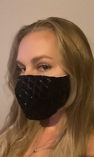 Black Prom Sequin Face Mask