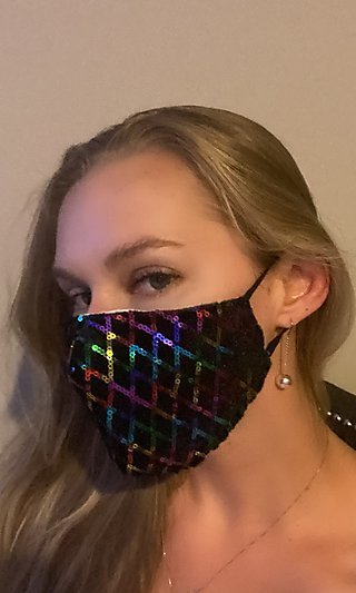Rainbow Sequin Prom Face Mask