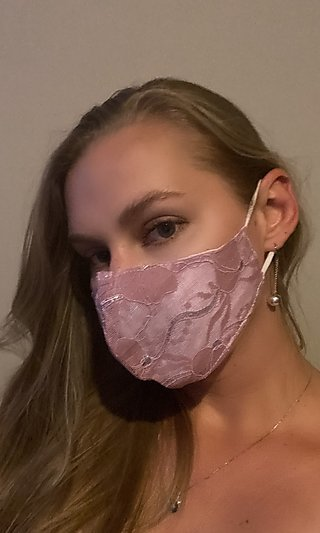 Pink Lace Prom Face Mask