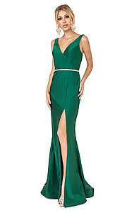 Image of long dark green simple prom dress with beading. Style: DQ-21-4125 Front Image