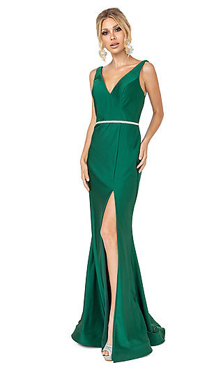 Long Dark Green Simple Prom Dress with Beading