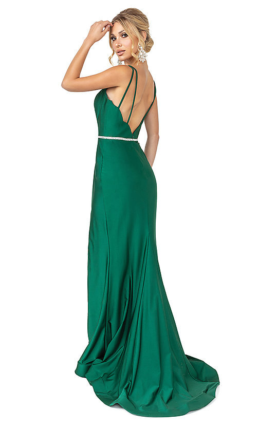 Image of long dark green simple prom dress with beading. Style: DQ-21-4125 Back Image