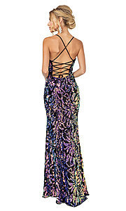 Image of black long multi-color sequin formal prom dress. Style: DQ-21-4135 Back Image