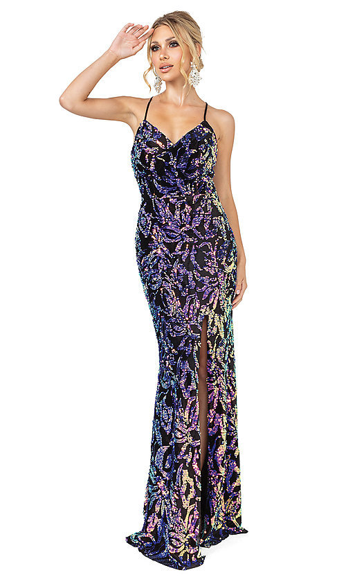 Image of black long multi-color sequin formal prom dress. Style: DQ-21-4135 Front Image