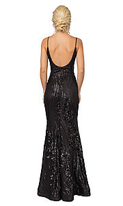 Image of sequin-accented long formal prom dress. Style: DQ-21-4144 Back Image
