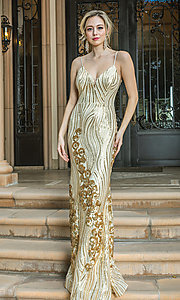 Image of sequin-accented long formal prom dress. Style: DQ-21-4144 Detail Image 3