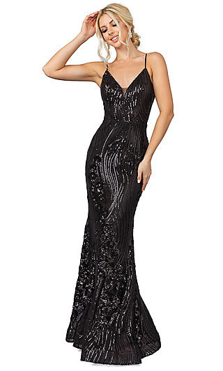 Sequin-Accented Long Formal Prom Dress