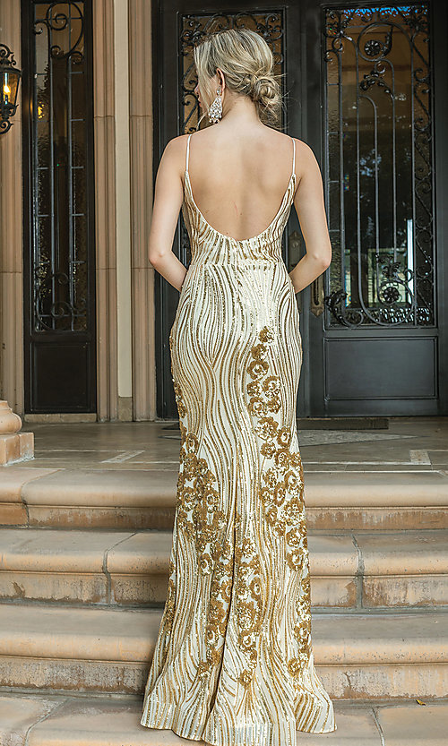 Image of sequin-accented long formal prom dress. Style: DQ-21-4144 Detail Image 4