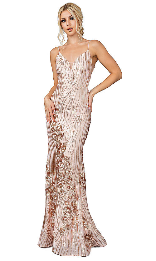 Image of sequin-accented long formal prom dress. Style: DQ-21-4144 Detail Image 1