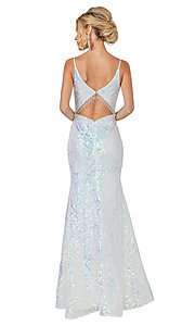 Image of off-white sequin long formal mermaid prom gown. Style: DQ-21-4158 Back Image