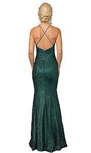 Image of glitter illusion-side long mermaid prom dress. Style: DQ-21-4168 Back Image